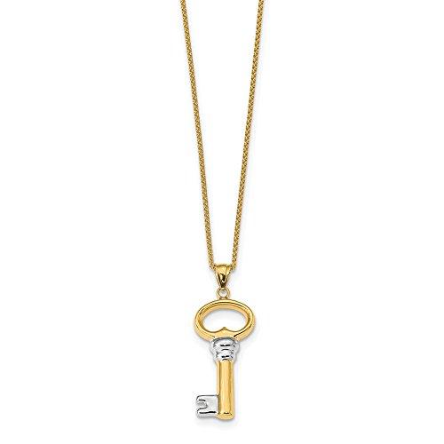 Lex & Lu Leslie's 14k Yellow Gold & White Rhodium-plated Polished Key Pendant