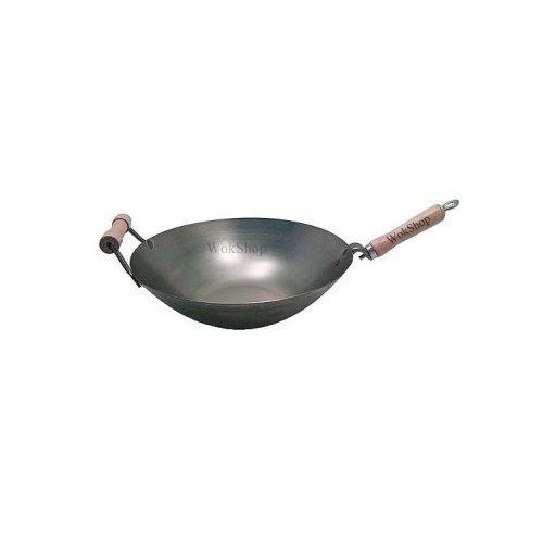 14 inch Carbon Steel Wok w/ Helper Handle (round bottom) USA made (Wok Round Bottom compare prices)