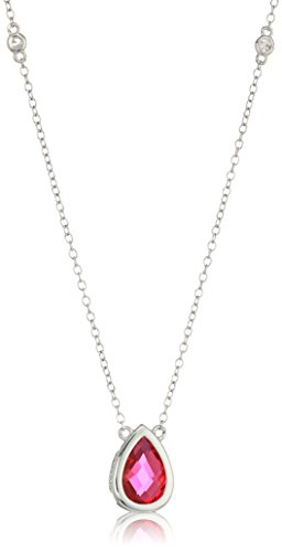 Sterling Silver Lab-created Ruby and Genuine White Topaz Station Pendant Necklace, 16