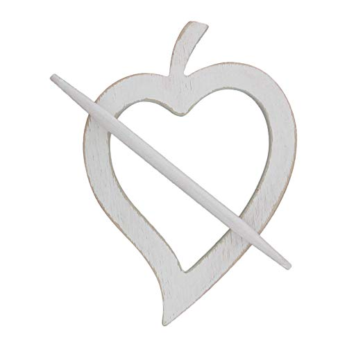 Heart Shaped Accessories - EVIDECO L235801 Wooden Heart Tieback Fjord Big Size - White