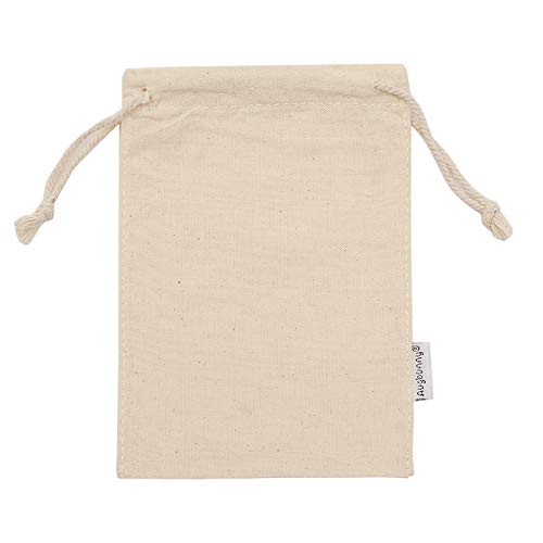 Augbunny 100% Cotton 5- by 7-Inch Muslin Bags with Drawstring, 12-Pack ()