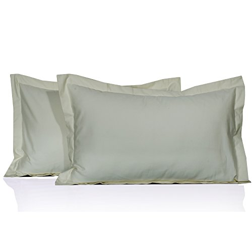 Solid Pattern 100% PIMA Cotton 500 Thread Count 2 Piece Pillow Shams All Size & Colors ( King , Ivory)