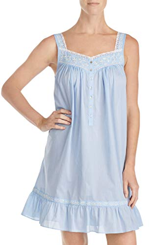 Eileen West Women's Embroidered Chambray Short Chemise Dark Cornflower Chambray - Womens Embroidered Chemise