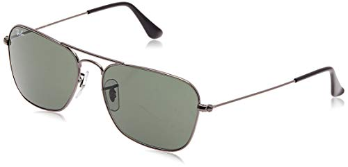 Ray-Ban RB3136 Caravan Square Sunglasses, Gunmetal/Green, 55 mm (Kinder Rayban)