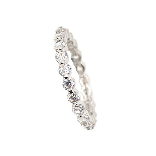 Platinum Plated Round Cubic Zirconia All-Around Infinity Band Wedding Ring Size 8