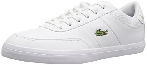 Lacoste Men's Court-Master Sneakers,White/Nvy Leather,8.5 M US (Lacoste White Sneakers)