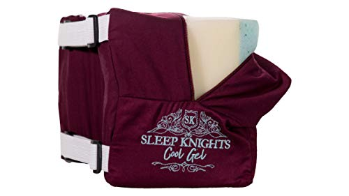 SLEEP KNIGHTS Knee Pillow - Osteopathic Inspired - Cooling Gel Memory Foam - Sciatic Pain Relief - Hip, Leg, Knee, Back, Spine Pain - Organic Cotton Cover - with Double Straps