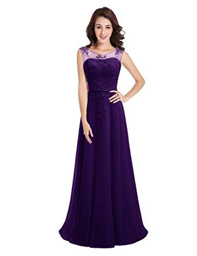 Brautjungfernkleid LuckyShe für Hochzeit Damen 2018 Spitze Lang Chiffon Abendkleider Elegant Violett 8Ba87F