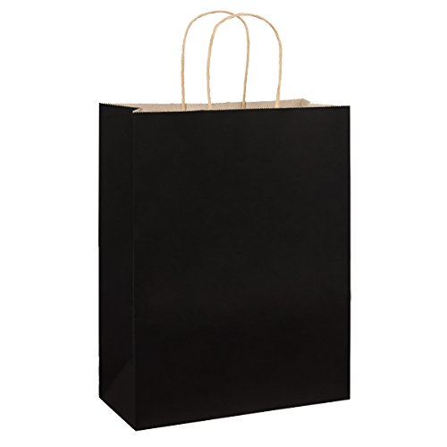BagDream 10'x5'x13', Debbie, 25Pcs Black Kraft Paper Bags, Shopping, Mechandise, Retail, Party, Gift Bags