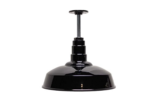 "200 Watt Black Standard Rigid Pendant | Pendant Shade | 16"" Dome 12"" Stem 
