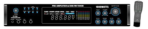 Pyle Home PT720A 1000-Watt AM/FM/Tuner Hybrid Amplifier with 70-Volt Output, Built-In Auto Mute Function And Music On Hold Output by Pyle