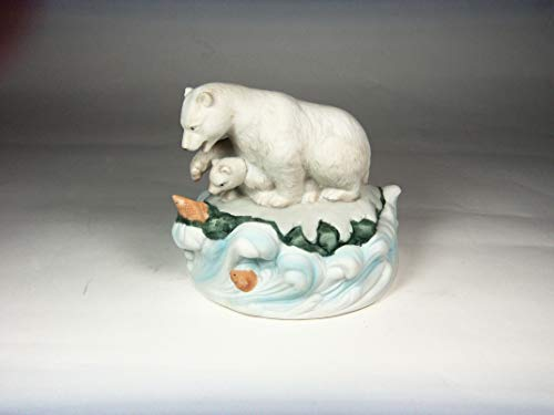 Cosmos Gifts Fine Porcelain Polar Bear and Cubs Catching Salmon Fish Music Box Figurine (Music Tune: Memory), 5