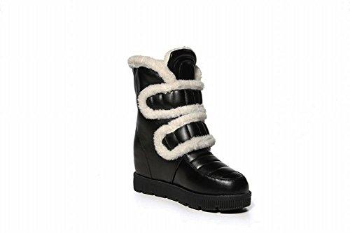Latasa Mujer's Fashion Plataforma De Gancho Y Lazo Low Wedge Heel Short Snow Botas Negro