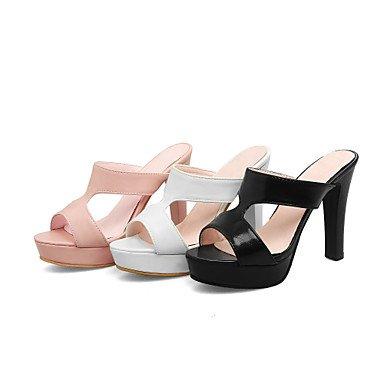 Vestido Stiletto y LvYuan Mujer Rosa blushing Verano pink Sandalias Negro Confort 12 Más Tacón Confort cms Casual Cuero Blanco cfHBfYqw