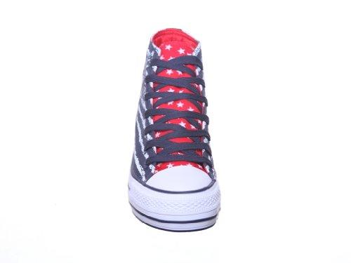 Hoge Sneakers Voor Dames Vetersluiting Hi Canvas Skateschoenen Blauw / Rood