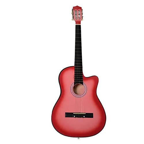 Pink Cutaway Acoustic Guitars with Guitar Plectrum38 Inch ()