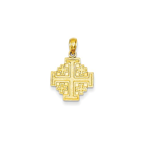 ICE CARATS 14k Yellow Gold Jerusalem Cross Religious Pendant Charm Necklace Jerum Fine Jewelry Ideal Mothers Day Gifts For Mom Women Gift Set From Heart (Cross Gold Yellow Jerusalem 14k)