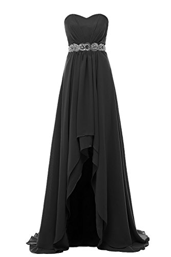 Embellished Satin A-line Dress - Off the Shoulder Sweetheart Black Chiffon Evening Party Dresses Long