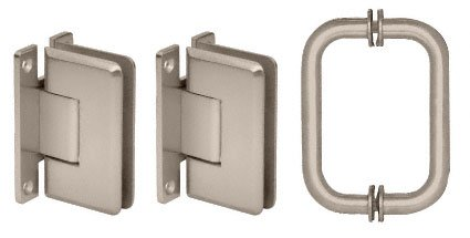 CRL Brushed Nickel Cologne Shower Pull and Hinge Set by C.R. Laurence