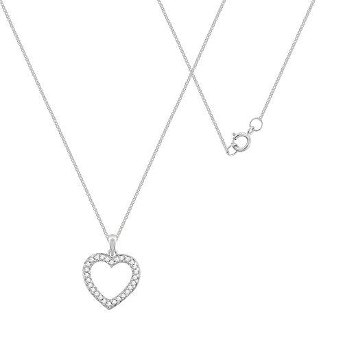 Prive carat Or blanc 9 carats avec diamants blancs Petit Coeur Ouvert, Chaîne de 45 cm