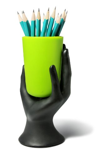 ARAD Phone Stand for iPhone and iPad, Book Holder Hand Statue Art (Black/Green)