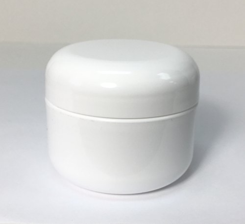 1oz Double Wall Round-Base White Plastic Jar with Foil Lined Dome Lid by USA Bottle Supply