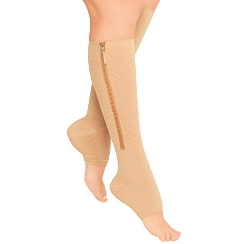 Zippered Compression Stockings, Nude, One Size (1 pair) by North American Health and Wellness