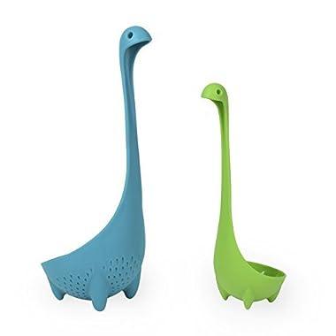Nessie Family Set, Vflyyy Mamma Nessie Colander + Babies Nessie Ladle (Blue + Green)