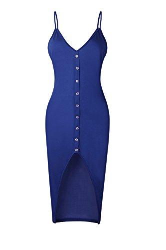 Las Mujeres De Hendidura Bodycon V Cuello Maxi S Vestidos Verano yulinge Blue Casual Vestido Fiesta De dFx50dH