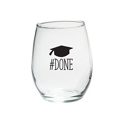 Kate Aspen 30023NA-DONE Done Graduation Black Ink Stemless Wine Glasses (Set of 4), 15 oz, Clear