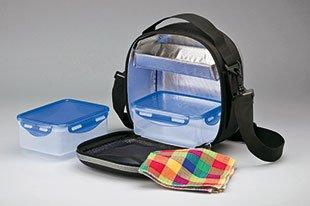 Bolsa térmica porta alimentos - Estuche térmico portátil grande con recipientes herméticos y porta cubiertos - fiambrera bandolera para comida - ideal ...