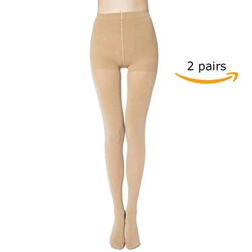 Panty Pantyhose - MANZI 2 Pairs Women's Run Resistant Control Top Panty Hose Opaque Tights(Large,Nude)