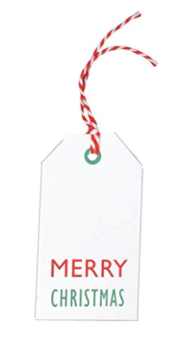Kraft Tags for Gift Wrapping and Labeling (Xmas on White Kraft 25 PCS - Red/White Baker's Twine)
