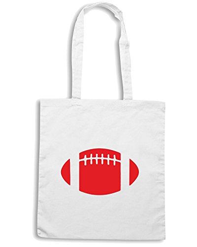 T-Shirtshock - Bolsa para la compra WC1013 American Football Ball Maglietta Blanco
