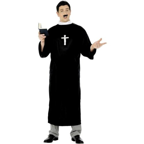 Smiffy's Men's Priest Costume with Long Robe and Collar, Black, Large (Priest Collar Costume)