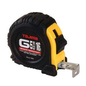 (TAJIMA Tape Measure - 16 ft / 5m x 1 inch G-Series Measuring Tape with Dual Metric/Standard Scale & Acrylic Coated Blade - G-16/5MBW)