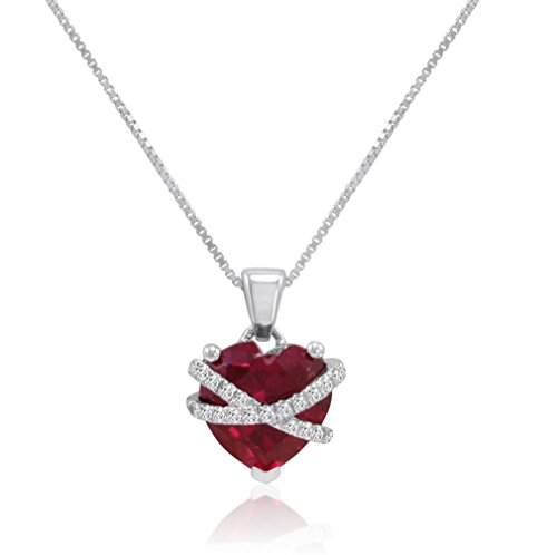 Sterling Silver Created Ruby and Created White Sapphire Cross My Heart Pendant-Necklace