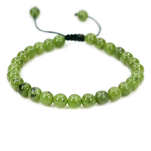 - AMANDASTONES Natural A Grade Canadian Nephrite Jade Gemstone 6mm Round Beads Adjustable Braided Macrame Tassels Chakra Reiki Bracelets 7-9 inch Unisex