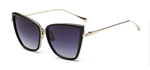 de Cat UV400 Mujeres Sunglasses Gafas Gato en Sol black Ventanas Ojo de reflejadas de de C6 Metal TL Gafas xg47nqq