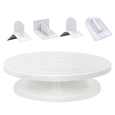 "11"" Cake Stand with 4 Different Fondant Smoother Tools, Rotating Cake Turntable Decorating Sets, Revolving Stand Cake Tray, Fondant DIY Tools Cake Polisher"