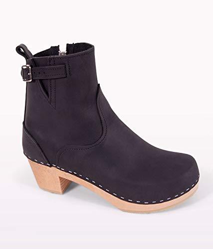 Sandgrens Swedish High Heel Wooden Clog Boots for Women | New York Black, EU 40