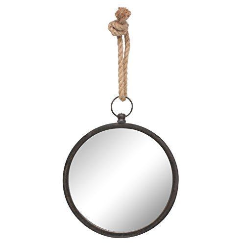 Stonebriar Round Metal Mirror for Wall with Nautical Rope Hanging Loop, Small, -