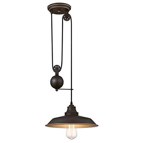 (Westinghouse Lighting 6363200 Iron Hill One-Light Pulley, Oil Rubbed Bronze Finish with Highlights and Metal Shade Indoor Pendant, 1)