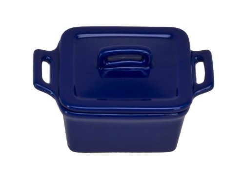 Covered Baker Square Stoneware (Omniware 1172037 Square Mini Bakers with Lids, Set of 4, Cobalt)