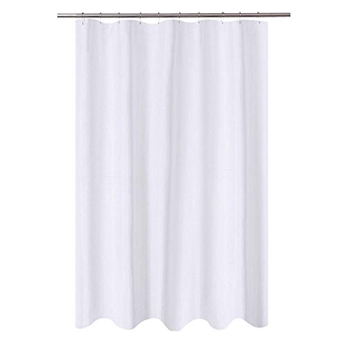 Fabric Water Repellent Shower Curtain Mildew-Resistant Washable Shower Curtain for Bathroom - 54''X72'' 1PC (White) ()