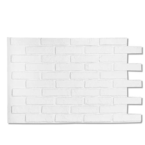 Brick Wall Panels Stone Tile, Lightweight Long Lasting (FRP)Material for House Extrior and Interior Wall Use (Matt White, Paris Brick)