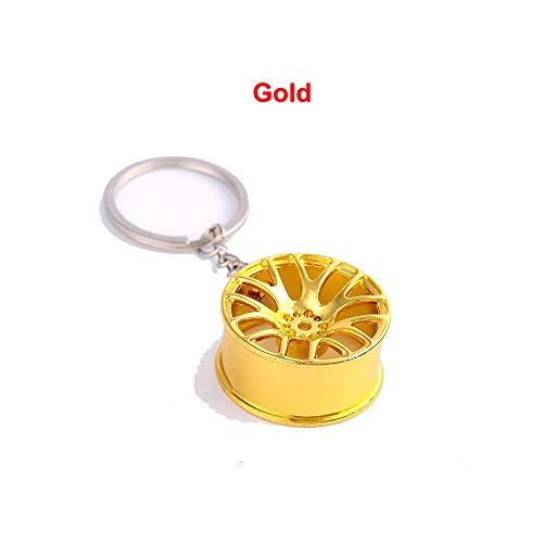 Novelty Creative Wheel Keychain Hang Aolly MetalCar Key Ring Tire Pendant Gift (Model - Gold)
