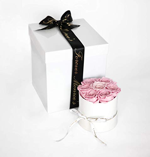 Forever Monroe's Preserved Pink Roses in a round box, Long Lasting Luxury Roses that last a year