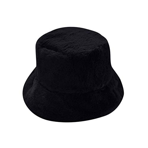 Women Winter Warm Bucket Hat,Crytech Fashion Vintage Thermal Faux Fur Fishing Cap Wide Brim Ear Warmer Fisherman Hat for Ladies Girls Hunting in Cold Weather (Black)