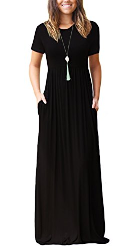 DEARCASE Women's Round Neck Short Sleeves A-line Casual Maxi Dresses with Pocket Black XX-Large